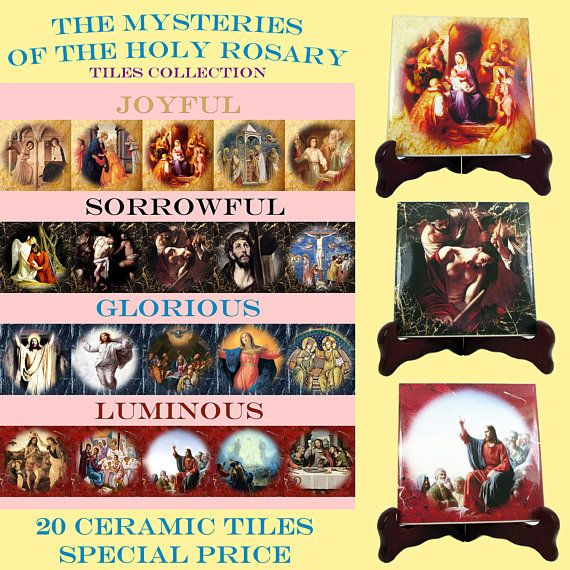 #Mysteries of the #Holy #Rosary - A new great #catholic icons serie available now in two sizes. 5 tiles for each Mystery. The images are inspired by great #religious painting from the best artists of the history of art. All tiles are suitable indoor and outdoor. 100% handmade in Italy. Perfect for your prayer room, your garden; a nice and unique gift idea for your church, your friends, your pastor. Free shipping to selected countries. Check out on #Etsy…