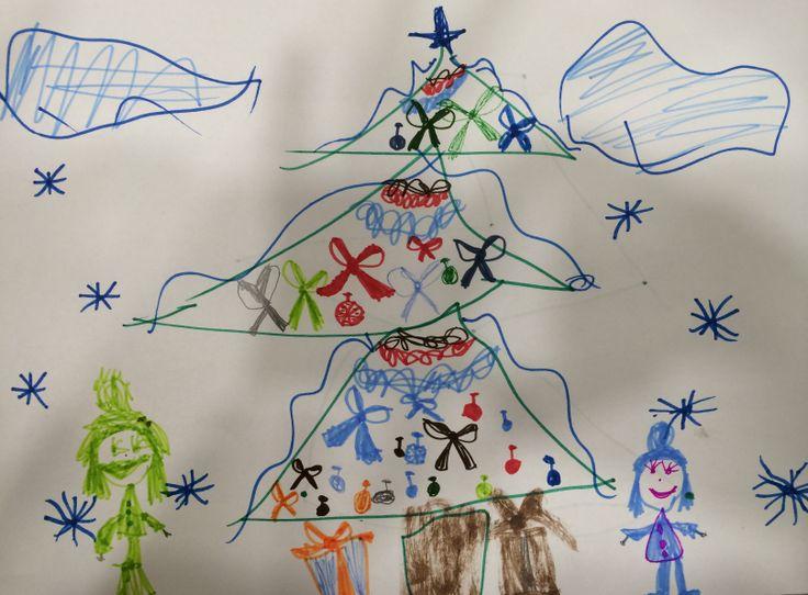 Барышникова Мария 5 лет   Название рисунка: С Сестренкой на елке