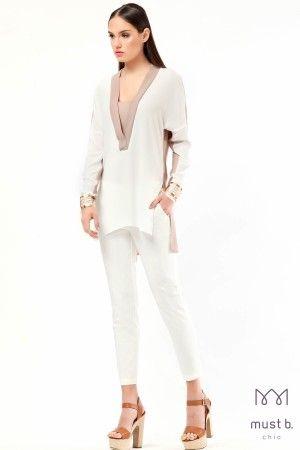 Μπλούζα γκοφρέ δίχρωμο V fashion blouse two coloured spring summer 2015