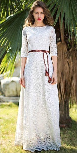 White Lace Rope Dress wear it casual or as your wedding dress | Mode-sty #nolayering