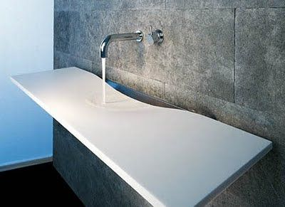 Very cool and universal design Cast Polymer with integrated sink. Affordible.