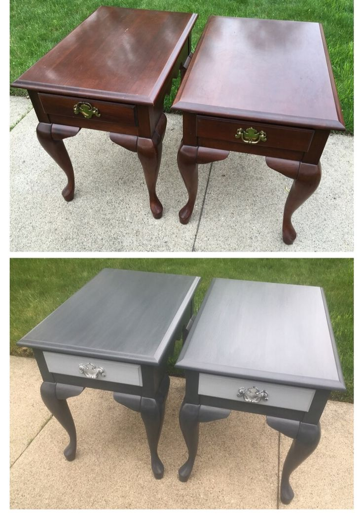 Updated These Queen Anne End Tables With Charcoal Grey And The Drawer  Fronts In Antique White