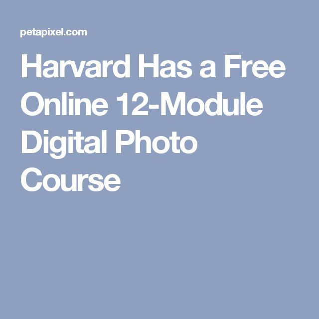 Harvard Has a Free Online 12-Module Digital Photo Course