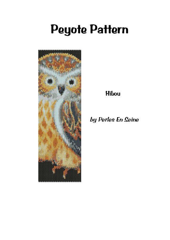 Owl Peyote Pattern Even Count Peyote Stitch door PerlesEnSeine