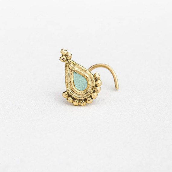 Gold Nose Stud  Solid 14k Yellow Gold Nostril Pin  by StudioMeme