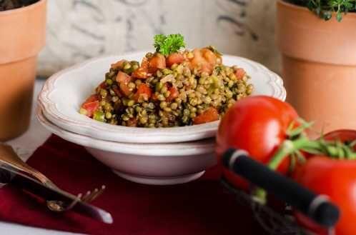 Linsensalat mit Lauchzwiebeln - Vegan