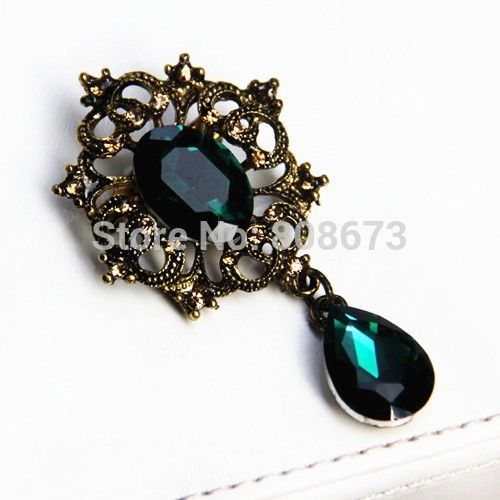 Vintage Style Green Crystal Drop Pendent Gift Brooch,Women Costume Brooch Pin Fashion Women Buckle Pins Pendent