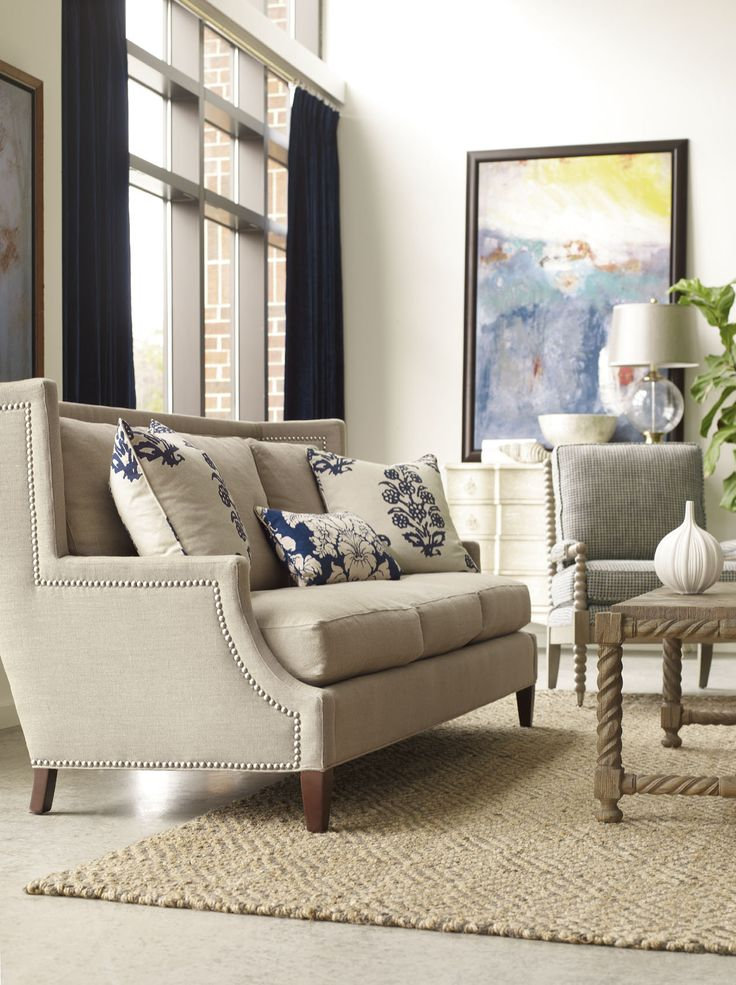 Neutral Living Room - Nell Hills Blog.  I want those pillows and that painting!