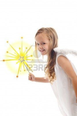 Little christmas fairy - girl with magic wand and a big smile, isolated Stock Photo - 8114413