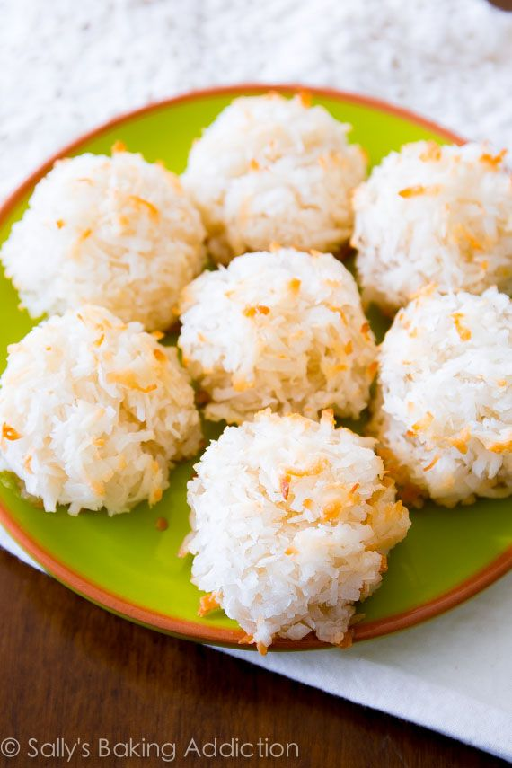Simple recipe for coconut macaroons, plus a version with chocolate and white chocolate!