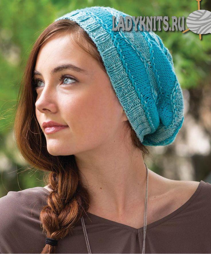 Вязаная спицами волнистая шапка Weldon