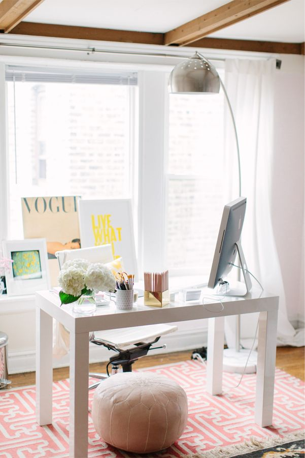 @Alaina Marie Kaczmarski of The Everygirl // office space // large windows // white parsons desk from @Elise West elm // pink greek key rug @Cindy Sullivan USA // @Joss Henry and Main // photography by Stoffer Photography