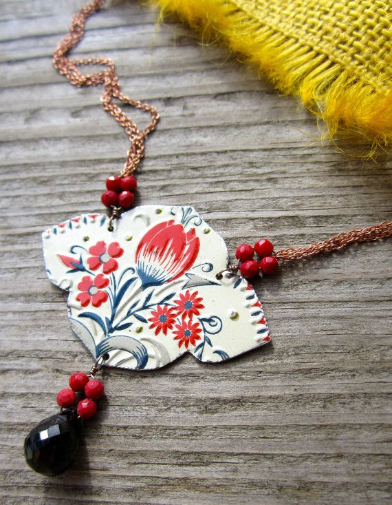 Crimson Tulip Recycled Tin Necklace with Coral and Black Spinel. $54.00, via Etsy.