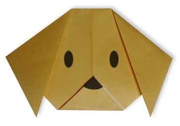 Dog(face) - Easy Origami instructions For Kids