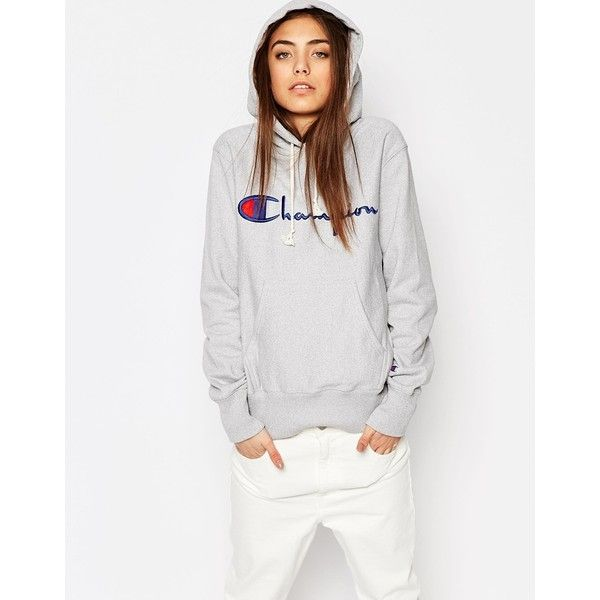 Champion Classic Oversized Pull Over Hoodie In Reverse Weave ($145) ❤ liked on Polyvore featuring tops, hoodies, grey, hooded sweatshirt, gray hoodie, tall hoodies, tall hooded sweatshirt and gray hoodies