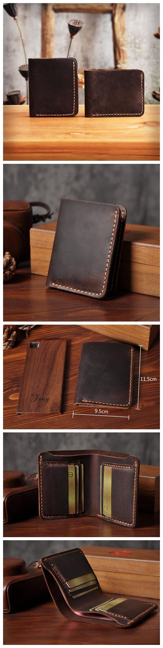 LISABAG--Handmade Men's Long Leather Wallet Money Purse Card Holder MT03