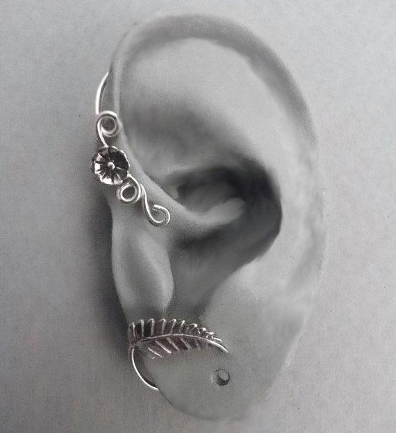 ear cuff wrap: Cool Earrings, Wraps Spring, Leaf Ears, Ear Cuffs, Ears Wraps, Sterling Flower, Cuffs Wraps, Ears Cuffs, Jewelry Earrings