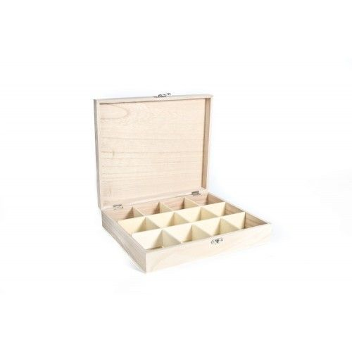 12 Compartment Plain Wooden Tea Box / Storage Box - Plain Wooden Tea Caddy Boxes - Plain Wooden Boxes | The Wooden Box Mill