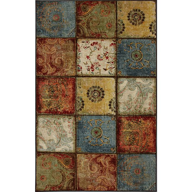 This City Heritage multicolor area rug features uniquely patterned rust, blue, brown, and green squares arranged in an eclectic mosaic pattern. The latex-backed rug is machine tufted with a medium nylon pile that is comfortable yet durable.