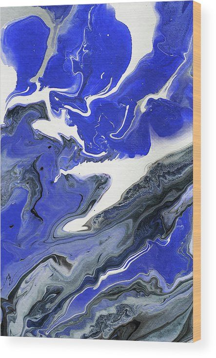 The Rivers Of Babylon Fragment 1.  Abstract Fluid Acrylic Painting Wood Print by Jenny Rainbow.  All wood prints are professionally printed, packaged, and shipped within 3 - 4 business days and delivered ready-to-hang on your wall. Choose from multiple sizes and mounting options.