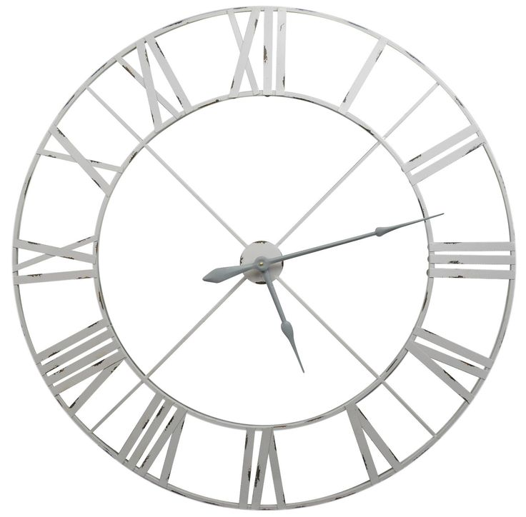 Large Pale Grey Distressed Contemporary Skeleton Metal Wall Clock 110cm | eBay