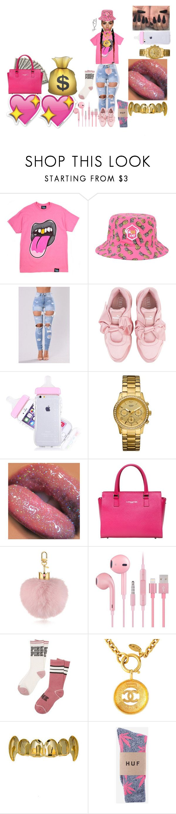 """""""Outfits for today#1"""" by kisha1891010 ❤ liked on Polyvore featuring Puma, GUESS, Lancaster, Victoria's Secret, Susan Caplan Vintage and HUF"""