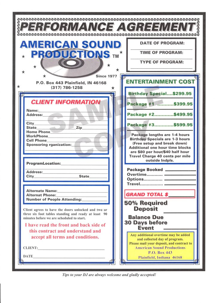 Auto Purchase Agreement Form Dj Contract Template Non Compete