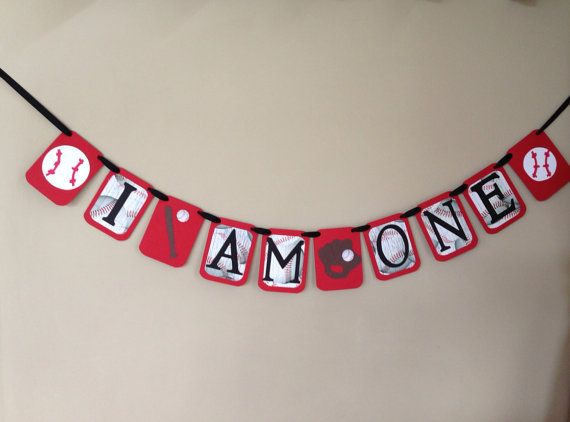 I AM ONE Birthday Banner, Baseball themed first birthday party, rookie of the year first birthday, all star first birthday banner