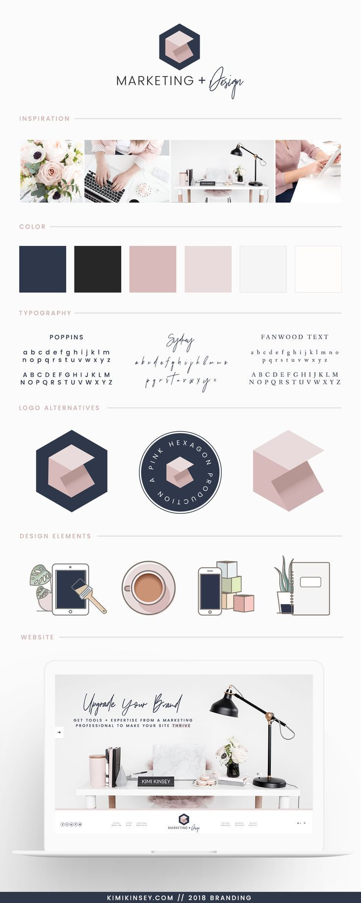 Kimi Kinsey Marketing and Design Brand Board 2018 - Inspiration, Color Palette, Typography choices, branding and design elements for the Kimi Kinsey rebrand. #brandboard #branding