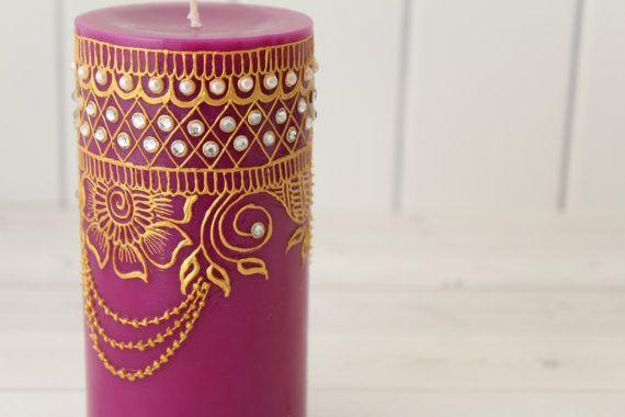 Bougies décor de henné Henné bougie bougie par LavenderHenna