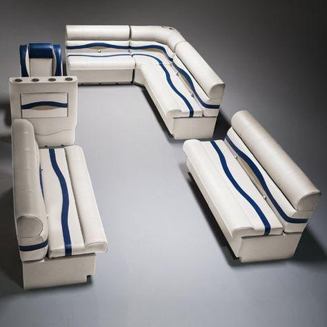 Ivory, Blue & Tan Pontoon Boat Seats