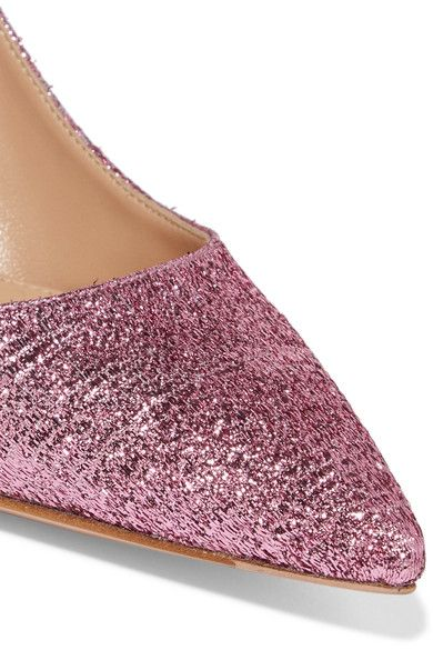 Gianvito Rossi - Textured-lamé Slingback Pumps - Baby pink - IT35.5