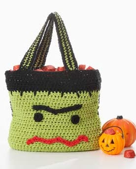 free pattern crochet frankenstein bag with lots of candy space for ambitious trick or treaters - Free Halloween Knitting Patterns