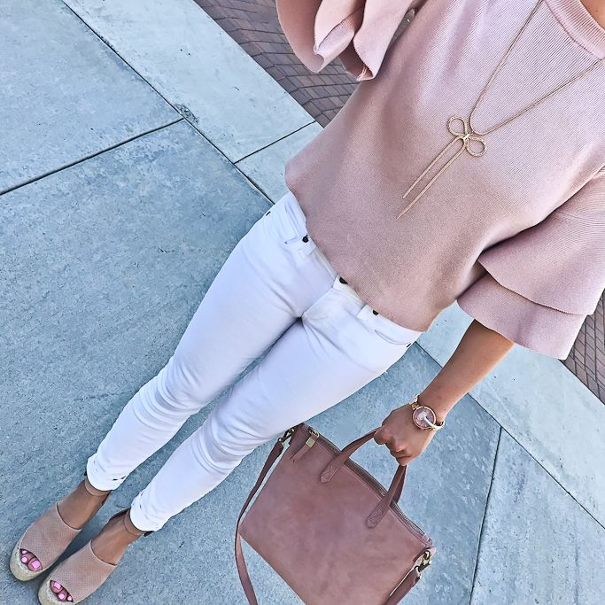 Mini Transport Suede Crossbody Bag, Adalyne Platform Wedge, Petite pink knit double frill sleeve top, spring outfit, blush and white outfit idea - click the photo for outfit details!
