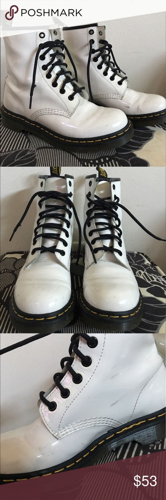 White Dr. Marten Boots Worn a handful of times for hip hop dance performances; few scuffs pictured; good condition Dr. Martens Shoes