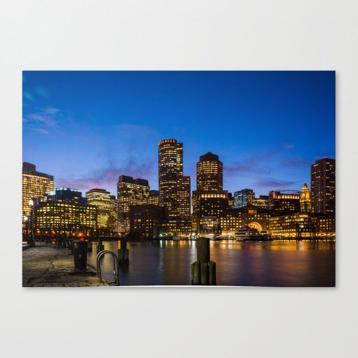 Buy Boston City Skyline Canvas Print By Newburydesigns Worldwide Shipping Available At Society6 Com Just One Of Millions Of High Qua City Skyline Art Skyline Art Skyline