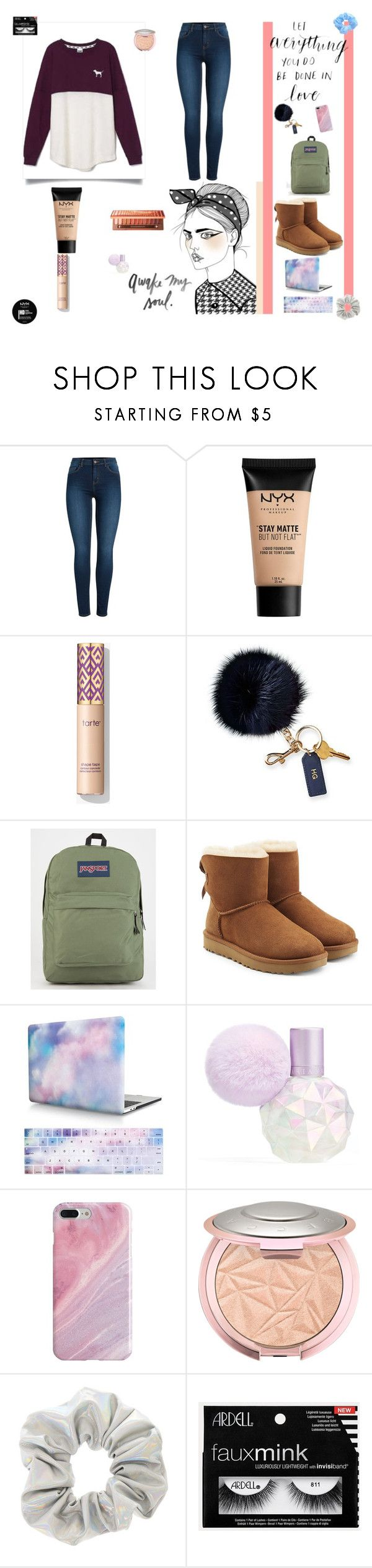"""Untitled #2"" by that-cutie-named-emily on Polyvore featuring Pieces, Victoria's Secret, NYX, Mark & Graham, JanSport, UGG and Recover"