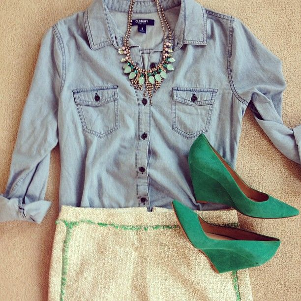 jcrew skirt paired with old navy chambray and emerald green wedges.
