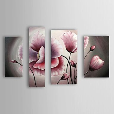 Hand Painted Oil Painting Floral Pink with Stretched Frame Set of 4 1309-FL1021 – USD $ 122.19