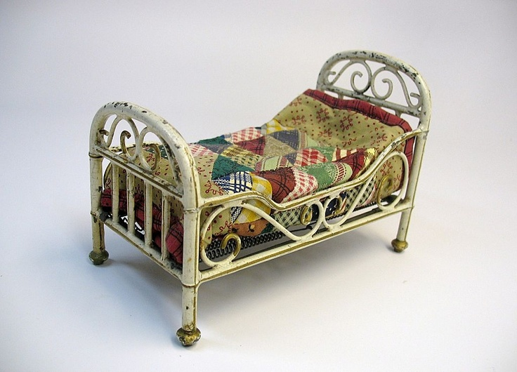 Superior Vintage Dollhouse Furniture For Sale Part - 6: Antique Marklin Germany Tin Toy All Original Doll Bed With Bedding For Sale  On Ruby Lane