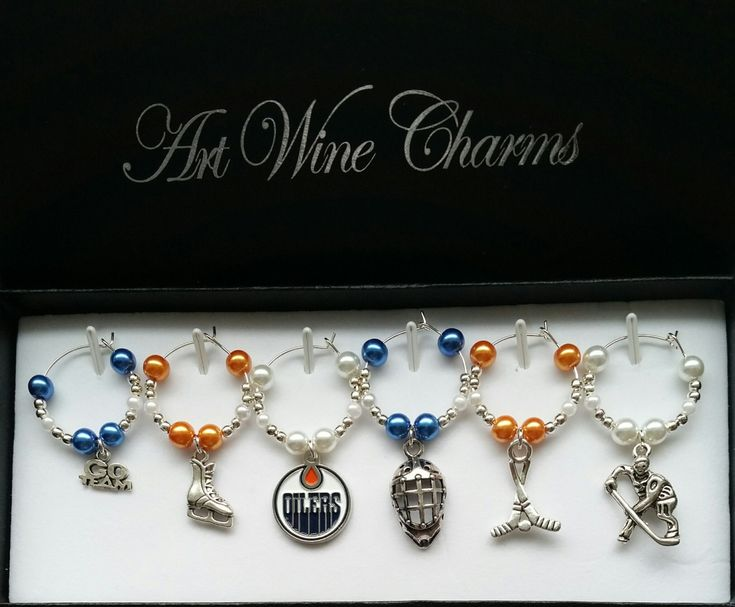 6 Edmonton Oilers Hockey themed Wine Charms, Oilers, Hockey, Sports, Wine Charms, Hockey Team, Hockey Coach, Gift, Party Favours by PickinsGalore on Etsy