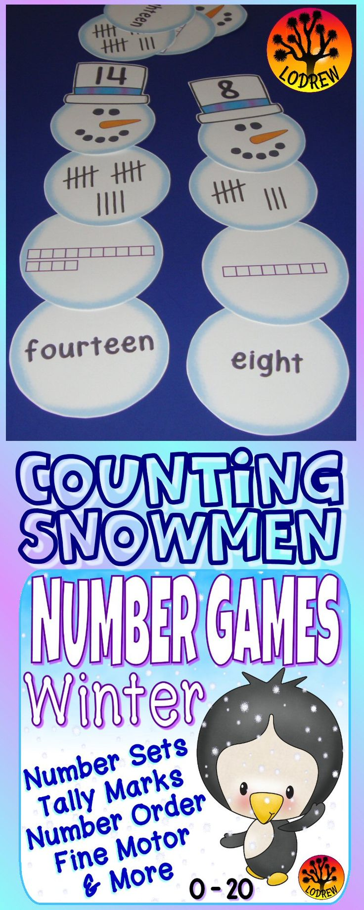 50 pages of winter number games. Activities include math, numbers, number order, cardinality, fine motor, visual discrimination, literacy, tally marks, ten frames, number sets, base ten blocks, number words, subitizing, winter activities, winter centers, arctic, polar, penguin centers, snowman activity, etc. For kindergarten, preschool, SPED, child care, homeschool, or any early childhood setting.