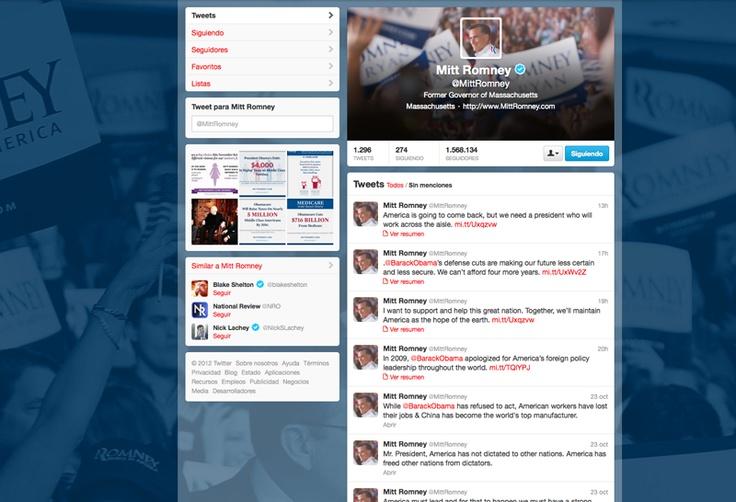 Perfil de Romney en Twitter