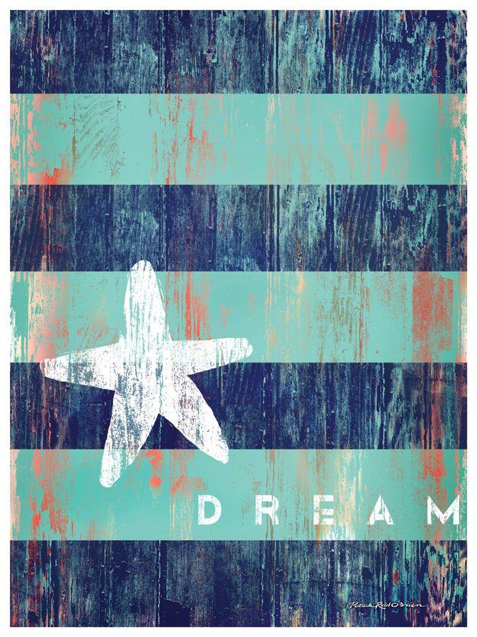 DREAM w/ Starfish Artwork: Beach House Decor, Coastal Living Boutique, Nautical, Seaside & Tropical Decor