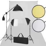 Studioset vit fotobakgrund 600 x 300 cm och studiobelysning