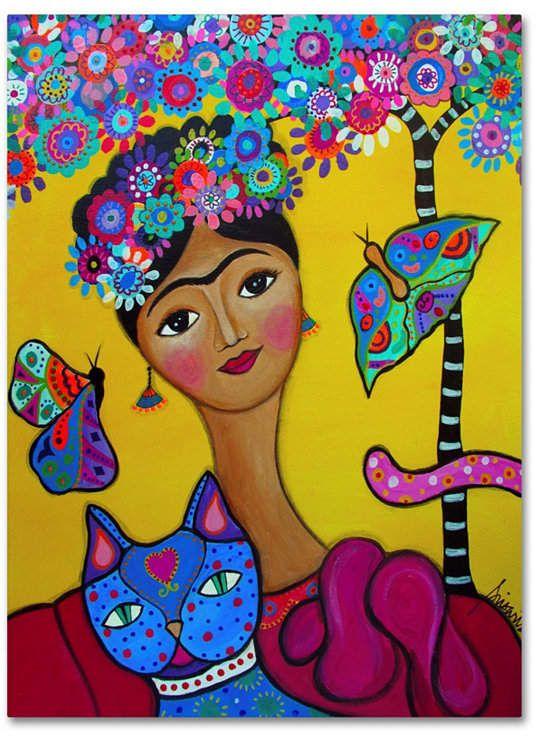 Prisarts 'Brigit Frida And Her Cat' Canvas Art – 47  x 35  x 2