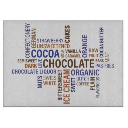 Chocolate Typography Cutting Board - home gifts ideas decor special unique custom individual customized individualized