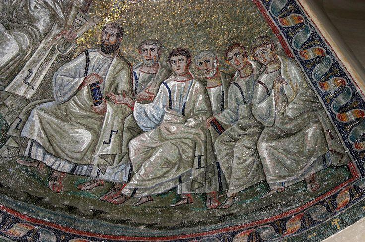 Cappella di Sant'Aquilino, basilica di San Lorenzo, Milano. Cristo con gli apostoli. Traditio legis. Il mosaico della fine del V secolo. Forse del periodo teodoriciano