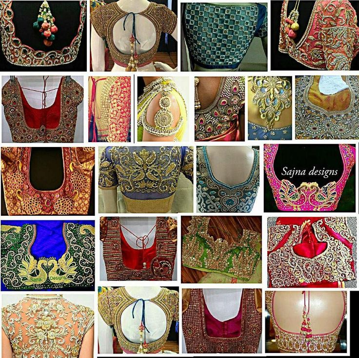 Beautiful neck and back blouse design from Sajna..  16 May 2017