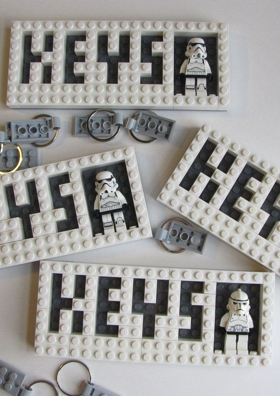 Buy this great wall mounted household key organizer, and youll find yourself saying These ARE the keys Im looking for!  Our latest key ring organizer is a wall mounted LEGO brick built key holder in your choice of LEGO brick with dark grey lettering. The holder comes with two of our valet key clip key chains, and is also equipped with a single Star Wars Stormtrooper to stand guard over your keys.  Its so simple. The keys are held to the board using the timeless LEGO stud and tube…
